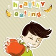 Happy teenager present healthy food — Stock Vector #10920039
