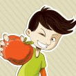 Cartoon boy with red apple — Stock Vector
