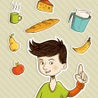 Cartoon teenager shows healthy food — Stock Vector