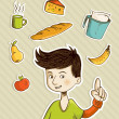 Stock Vector: Cartoon teenager shows healthy food