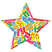 Summer flip flops in star shape — Stock Vector