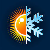Hot and cold temperature symbol — Vector de stock