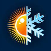 Hot and cold temperature symbol — Stock Vector