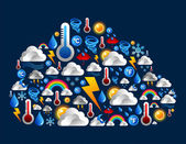 Weather icons set in cloud shape — Stock Vector