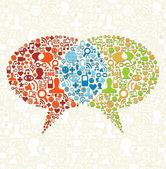 Sociale media pictogrammenset in bubbels praten — Stockvector