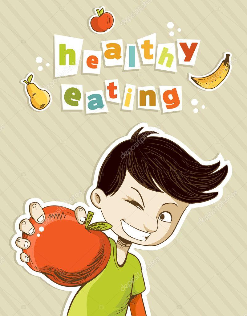 Presente cibo sano adolescente felice — vettoriali stock