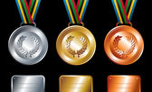 Gold, silver and bronze medals background — Stock Vector