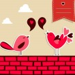Stock Vector: Fresh social media birds love