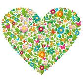 Verde floreale primavera ed estate amore — Vettoriale Stock