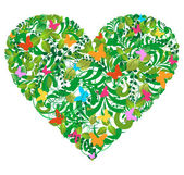 Verde primavera floral y el amor de verano — Vector de stock