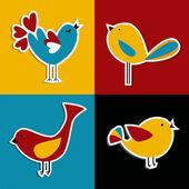 Sada ptáci sociální média — Stock vektor