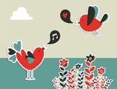 Fresh social media birds communication — Stock Vector