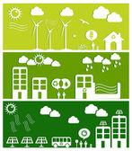 緑豊かな街の概念図 — ストックベクタ