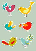 Social media birds set — Stock Vector
