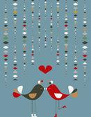 Aves sociales lindo amor — Vector de stock