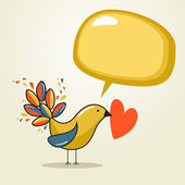 Social media bird with speech love — Vector de stock
