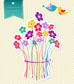 Social birds and flowers template background — Stock Vector
