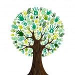 Go green hands collaborative tree — Stock Vector #11441173