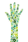 Go green collaborative hands — Stock Vector
