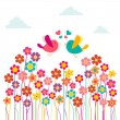 Cute social birds love — Stock Vector