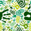 Royalty-Free Stock Vector Image: Go green hands seamless pattern