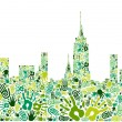 Go green hands city skyline background — Stock Vector #11469347