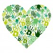 Go green hands love heart — Stock Vector