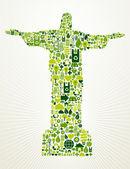 Brazil go green concept illustration — Stock Vector