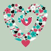 Cute social bird love — Stock Vector