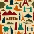 Royalty-Free Stock Vector Image: World landmark silhouettes pattern