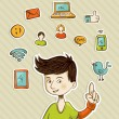 Go social teenager shows netwoks icons — Image vectorielle