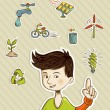 Go green teenager shows eco friendly icons — Stock Vector
