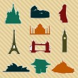 World landmark silhouettes set — 图库矢量图片