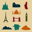 Royalty-Free Stock Vektorfiler: World landmark silhouettes set