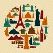 World landmark silhouettes set - Stock Vector