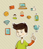 Go social teenager shows netwoks icons — Vector de stock
