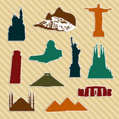 World landmark silhouettes — Stock Vector