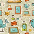 Social media cartoon icons colorful pattern - Stock Photo