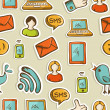 Social media cartoon icons pattern — Foto Stock