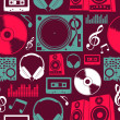Music icons seamless pattern — Stockvectorbeeld