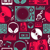 Music icons seamless pattern — Vector de stock