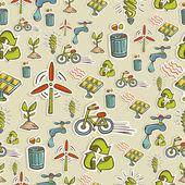 Ekologi ikoner mönster — Stockvektor