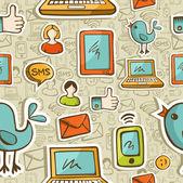 Sociale media cartoon pictogrammen kleurrijke patroon — Stockvector