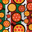 Italian pizza flavors pattern — Stock Vector