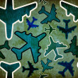 Stock Photo: Travel by plane vintage pattern
