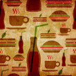 Grunge fast food icons set pattern — Stock Photo