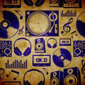 Dj music elementes vintage pattern — Zdjęcie stockowe