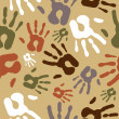 Diversity vintage hand prints pattern — Stock Vector