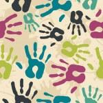 Diversity vintage hand prints pattern — Stock Vector