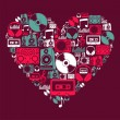 Dj Music icons love heart — Image vectorielle